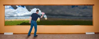 Spring Cleaning Banner, Man Washing Windows Stock Image