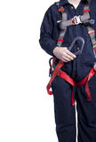 Man wearing fall protection Stock Image