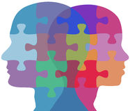 Man Woman face people problem puzzle Royalty Free Stock Images