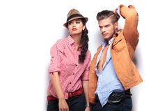 Man and woman fashion models looking away Royalty Free Stock Image
