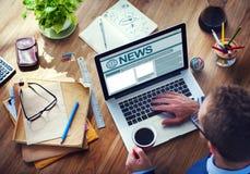 Man Working Computer Internet Journalism Global Media Concept Stock Images