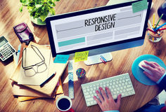 Man Working on a Responsive Web Design Stock Image