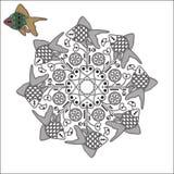 Mandala med fiskar och blommor Arkivfoto