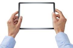Mani della compressa del computer isolate Fotografia Stock