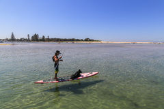 Mann und Hund im Brett, Hafen stephens, Australien Stockfotografie