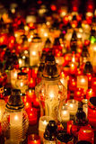 Many burning candles in the cemetery at night on the occasion memory of the deceased.Souls. Royalty Free Stock Photography