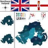Mapa de Irlanda do Norte com subdivisões Fotos de Stock