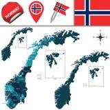 Mapa de Noruega Foto de Stock Royalty Free