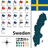 Mapa de Sweden Fotos de Stock