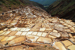 Maras Salt mine in Peru Royalty Free Stock Photography
