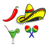 Margarita with sombrero, jalapeno and maracas EPS 10 vector, grouped for easy editing. No open shapes or paths. Royalty Free Stock Image