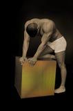 Maschio con una casella Fotografia Stock Libera da Diritti