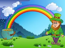 Meadow with rainbow and leprechaun Royalty Free Stock Photography