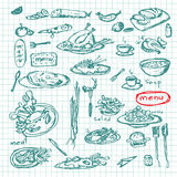 Meal sketch set. Decorative hand drawn restaurant menu collection. EPS Vector Royalty Free Stock Images