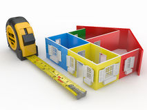 Measure tape and abstract three-dimensional  house Royalty Free Stock Image