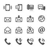 Mededeling van telefoon en e-mailpictogramreeks, vectoreps10 Stock Afbeelding