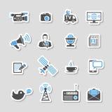 Media and News Icons Sticker Set Stock Photo