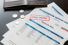 Medical bill from the hospital, concept of rising medical cost. Stock Images