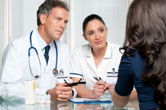 Medical discussion at hospital with patient Stock Images