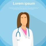 Medical Doctor Profile Icon Female Portrait Flat Stock Photos