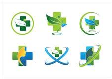 Medical pharmaceutical health logo wellness people green leaf healthy symbol set vector design Stock Photography