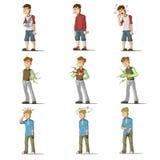 Medicine disease man flat characters set Royalty Free Stock Images