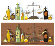 Medicines and chemist's scales Stock Photos
