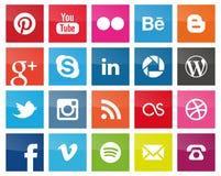 Medios iconos sociales cuadrados Fotos de archivo libres de regalías