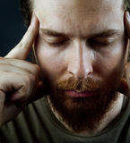 Meditation concept - face of peaceful serene man Royalty Free Stock Photo