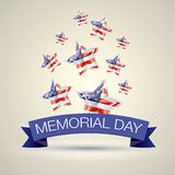 Memorial Day with star in national flag colors Stock Images