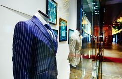 Clothing shop window store sale display fashion men clothes Royalty Free Stock Photos