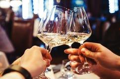 Mensen die met wijn roosteren Royalty-vrije Stock Afbeeldingen