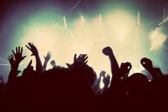 Mensen op muziekoverleg, discopartij. Wijnoogst Stock Afbeeldingen
