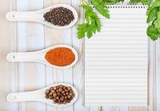 Menu background. Cook book toned image. Vintage image of recipe Stock Photo