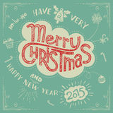 Merry Christmas doodle greeting card Stock Image
