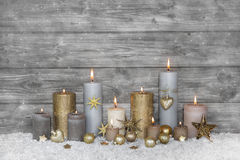 Merry christmas greeting card: wooden grey shabby chic backgroun Royalty Free Stock Photography
