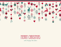 Merry Christmas hanging elements decoration compos Royalty Free Stock Photo