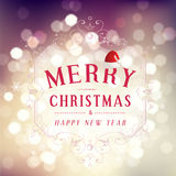 Merry Christmas and Happy New Year greeting card festive inscription with ornamental elements on bokeh vintage background, vector Royalty Free Stock Photo