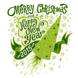 Merry Christmas and Happy New Year 2015 Greeting card with Handlettering Typography Royalty Free Stock Images