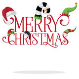 Merry Christmas with holiday hats Royalty Free Stock Photo