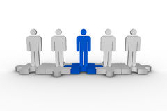 Meshed jigsaw pieces with human figures standing in line Royalty Free Stock Photography