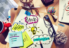 Messy Office Desk with Ideas and Vision Stock Photos