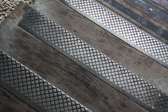 Metal and wooden pavement Royalty Free Stock Photo