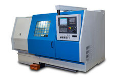 Metalworking lathe with a protective casing Stock Photo
