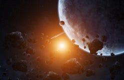 Meteoritinverkan på en planet i utrymme Arkivbild
