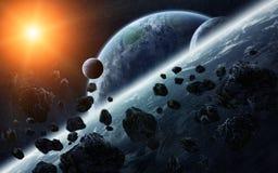 Meteoritinverkan på planeter i utrymme Royaltyfria Bilder