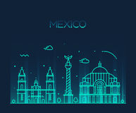 Mexico City skyline Trendy vector line art style Royalty Free Stock Images
