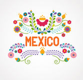 Mexico flowers, pattern and elements Royalty Free Stock Photo