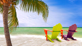 Miami Florida, Panorama of colorful lounge chairs Stock Image