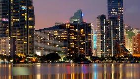 Miami night skyline stock footage